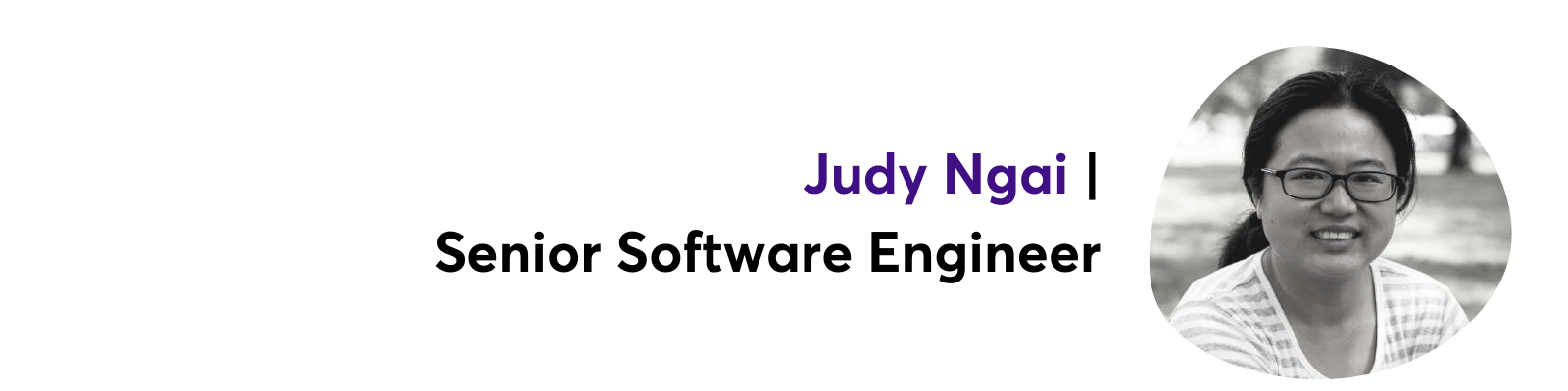 Headshot of Judy with title and name.