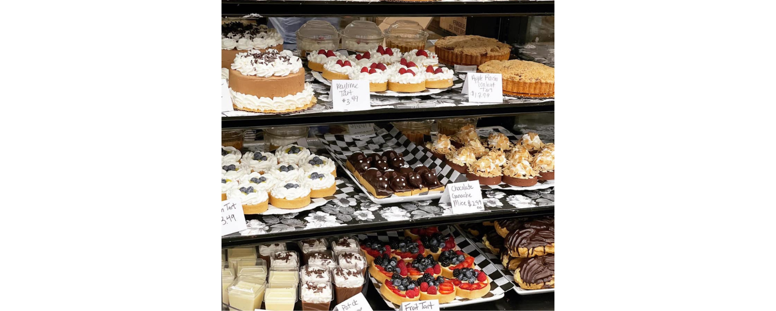 Glass display case showing Libbie Market's signature pastries