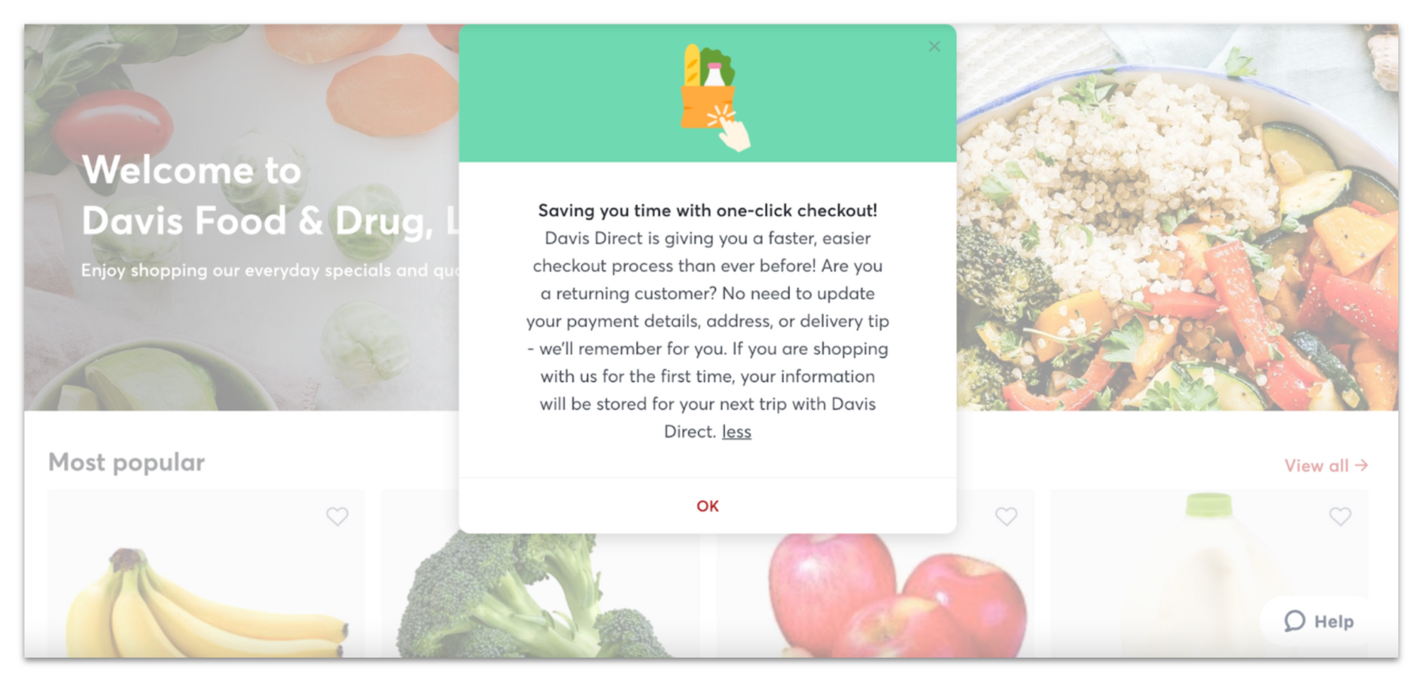 Image of announcement panel explaining Rosie's one click checkout on Davis Food & Drug's ecommerce site