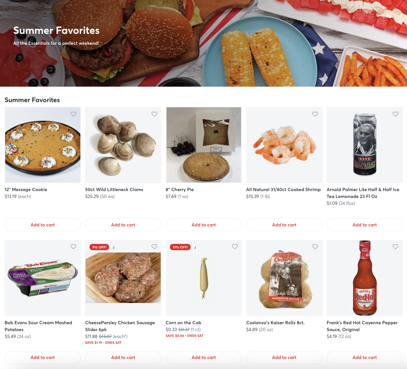 Picture of online grocery store advertising summer products