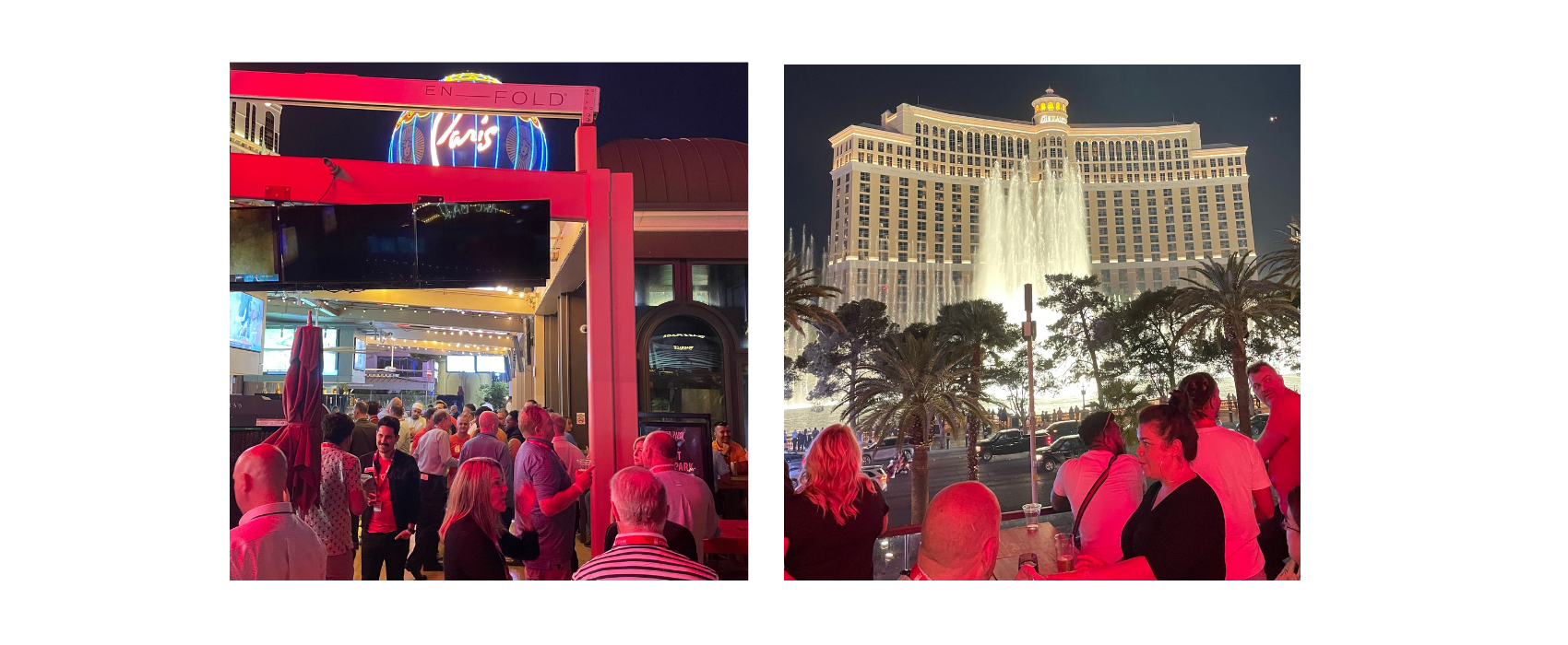 """Two images showing scenes from the Rosie rooftop """"Hoppy Hour"""" at Beer Park in Las Vegas across from the Bellagio Fountains"""